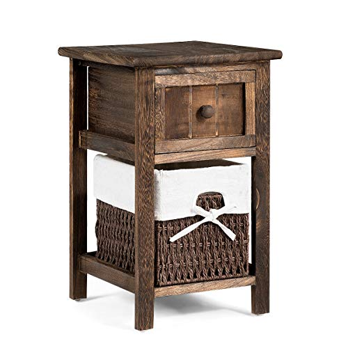 Giantex Nightstand Mini Wooden W Drawer and Removable Wicker Storage Basket for Living Room Bedroom Children Room Fully Assembled Beside Sofa Table End Table 11 x12 x18 1, Coffee