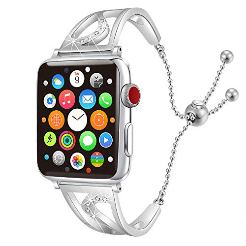 CONNICS Bling Bands Compatible Apple Watch iWatch Band Women Silver Series 4 40mm, Series 3/2 / 1 38mm,Diamond Rhinestone Stainless Steel Metal Jewelry Bracelet Bangle Wristband Strap