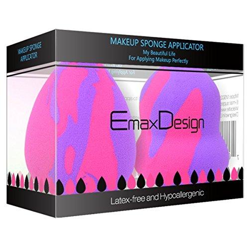 EmaxDesign 2-er Set EmaxBeauty Make-up Blender Schwämmchen, Foundation Blending Blush Concealer Augen Gesicht Pulver Creme Kosmetik Schwamm. Latexfreien, AntimikrobiellenSchaumstoff, Gegen Bakterien