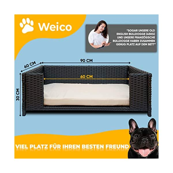 51PnJoB5yTL Cherioll weico Hundebett in Rattan-Optik 90 x 60 x 30 cm - gemütliches Hundebett mit waschbarem Kissen - stabiles…