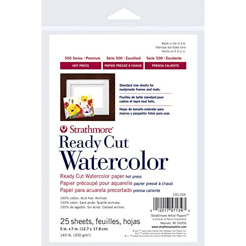 Strathmore 500 Series Ready Cut Watercolor Paper, 140 lb. Hot Press, 5