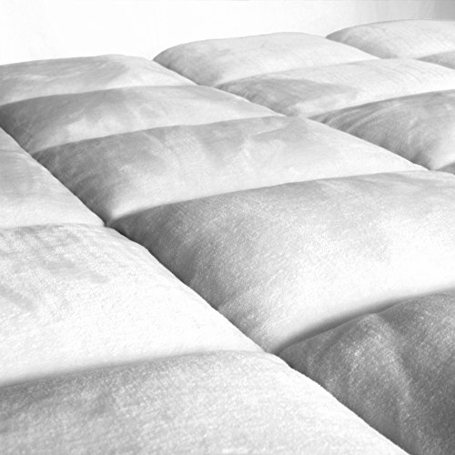 Pillow-Top Premium Mattress Pad - Overfilled Super Soft Velvet Reversible Topper - With Deep Fitted Skirt (King)