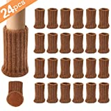24PCS Furniture Pads High Elastic Floor Protectors Non Slip Chair Leg Feet Socks Covers Furniture Caps Set, Fit Diameter from 1' to 2',Knitted Furniture Pads Brown