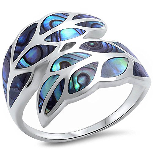 (Oxford Diamond Co Abalone Leaf Shell .925 Sterling Silver Ring Size 8)