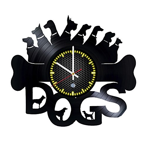 Dogs Style Vinyl Record Wall Clock home kitchen living room decor got dogs lovers