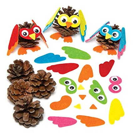 Amazon Com Baker Ross Owl Mix Match Pine Cone Decoration