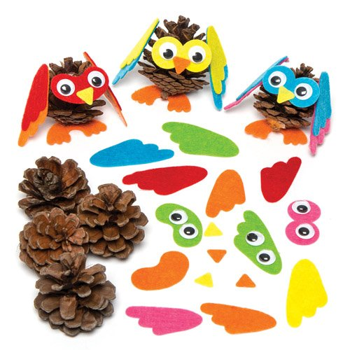 Owl Mix & Match Pine Cone Decoration Kits Creative Set