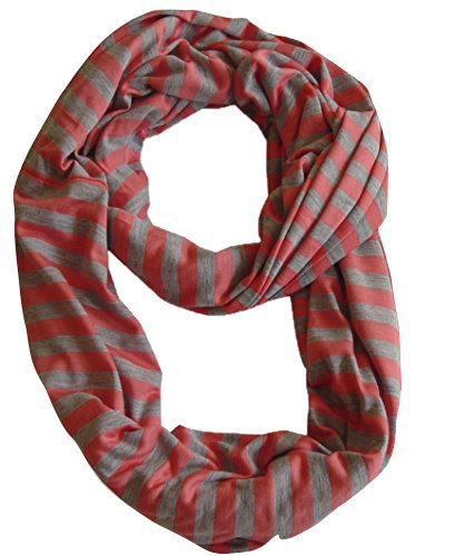 Peach Couture Lightweight 100% Cotton Striped Jersey Knit Infinity Loop Scarf (Coral and Grey) (Cotton Knit Infinity Scarf)