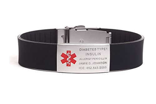 Free Engraving Silicone Medical Alert ID Bracelets with Stainless Steel ID  Tag ,Adjustable Length: 5 inches -9 4 inches