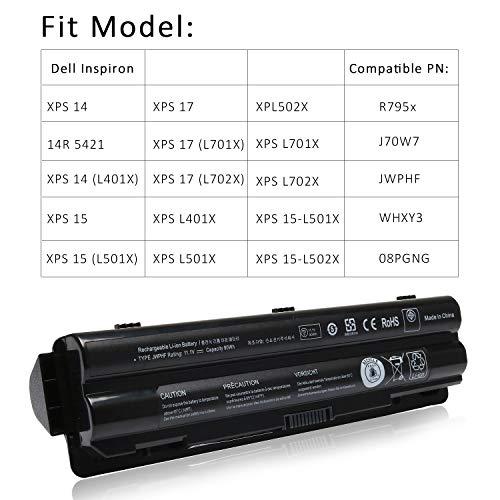 New R795x XPS L702x L502x L501x Laptop Battery Compatible with Dell XPS 17 L701x XPS 14 L401X,fit: 312-1123 312-1127 453-10186 J70W7 JWPHF WHXY3 [11.1V 90WH]-12 Months Warranty
