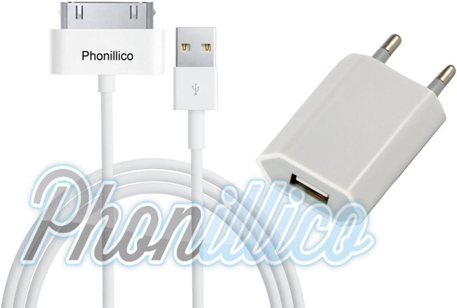 PHONILLICO Cable USB + Chargeur Secteur Blanc Compatible