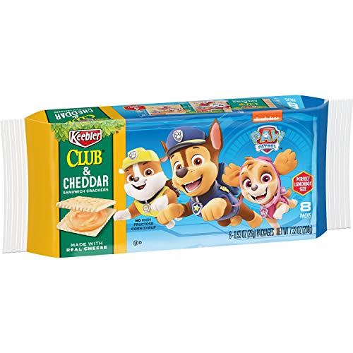 Keebler PAW Patrol, Sandwich Crackers, Club and Cheddar, Made with Real Cheese, 7.33oz Pack (Pack of 12)