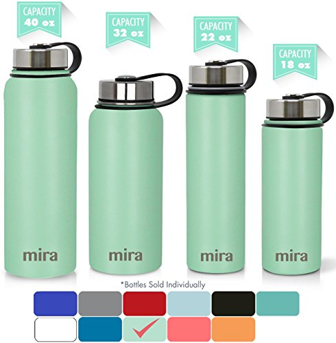 MIRA 18 Oz Stainless Steel Vacuum Insulated Wide Mouth Water Bottle with 2 Caps | Thermos Keeps Cold for 24 hours, Hot for 12 hours | Double Walled Powder Coated - Swim Insulated Cap