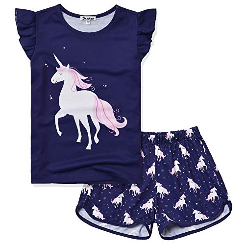 Summer Pajamas for Big Girl Size 10 11 Short Sleeve Cotton Unicorn Pjs Sets -