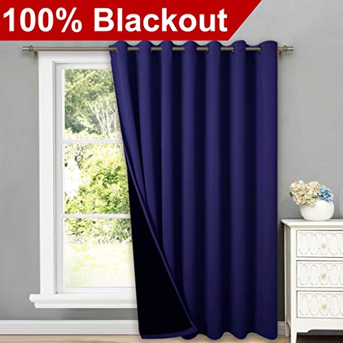 NICETOWN 100% Blackout Patio Sliding Door Curtain, Wide Lined Drape, Keep Warm Drapery, Sliding Glass Door Panel for Night Shift(Navy Blue, 1 Panel, 100 Wide x 84 Long