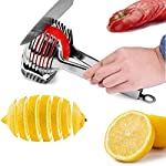Tomato Lemon Slicer Holder Round Fruits Onion Shreader Cutter Guide Tongs with Handle Kitchen Cutting Potato Lime Food Stand Stainless Steel 8 Durable and Ergonomics Design: Tomato slicer holder made of durable stainless steel, with a locking design at the end of handle, so you can slice the fruit vegetable easily and comfortably High quality Food Grade: The product is made of 304 stainless steel with mirror polishing surface, food grade safe Extensive Use: Not only use for tomato and potato, but also guide for lemon and other round fruits and vegetables onion, citrus, oranges and limes
