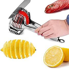 Tomato Lemon Slicer Holder Round Fruits Onion Shreader Cutter Guide Tongs with Handle Kitchen Cutting Potato Lime Food Stand Stainless Steel 1 Durable and Ergonomics Design: Tomato slicer holder made of durable stainless steel, with a locking design at the end of handle, so you can slice the fruit vegetable easily and comfortably High quality Food Grade: The product is made of 304 stainless steel with mirror polishing surface, food grade safe Extensive Use: Not only use for tomato and potato, but also guide for lemon and other round fruits and vegetables onion, citrus, oranges and limes