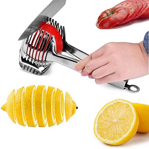 Lime Tomatoes - Tomato Lemon Slicer Holder Round Fruits Onion Shreader Cutter Guide Tongs with Handle Kitchen Cutting Potato Lime Food Stand Stainless Steel