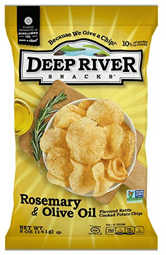 Deep River Snacks Rosemary & Olive Oil Kettle Cooked Potato Chips, 5-Ounce (Pack of 12)