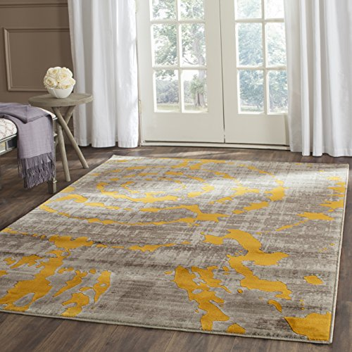 (Safavieh Porcello Collection PRL7735C Light Grey and Yellow Area Rug (5'2