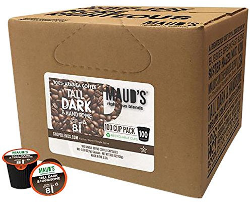 Maud's Gourmet Coffee Pods - Tall Dark & Handsome Dark Roast, 100-Count Single Serve Coffee Pods - Richly Satisfying Premium Arabica Beans, California-Roasted - Kcup Compatible, Including 2.0 (Krueger Coffee K Cups)