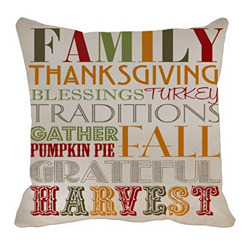 Gotd Thanksgiving Food Decorations Decor Throw Pillow Case Sofa Waist Throw Cushion Cover Home Decor Square 45cm x 45cm 18inch x 18inch (Letters) ()