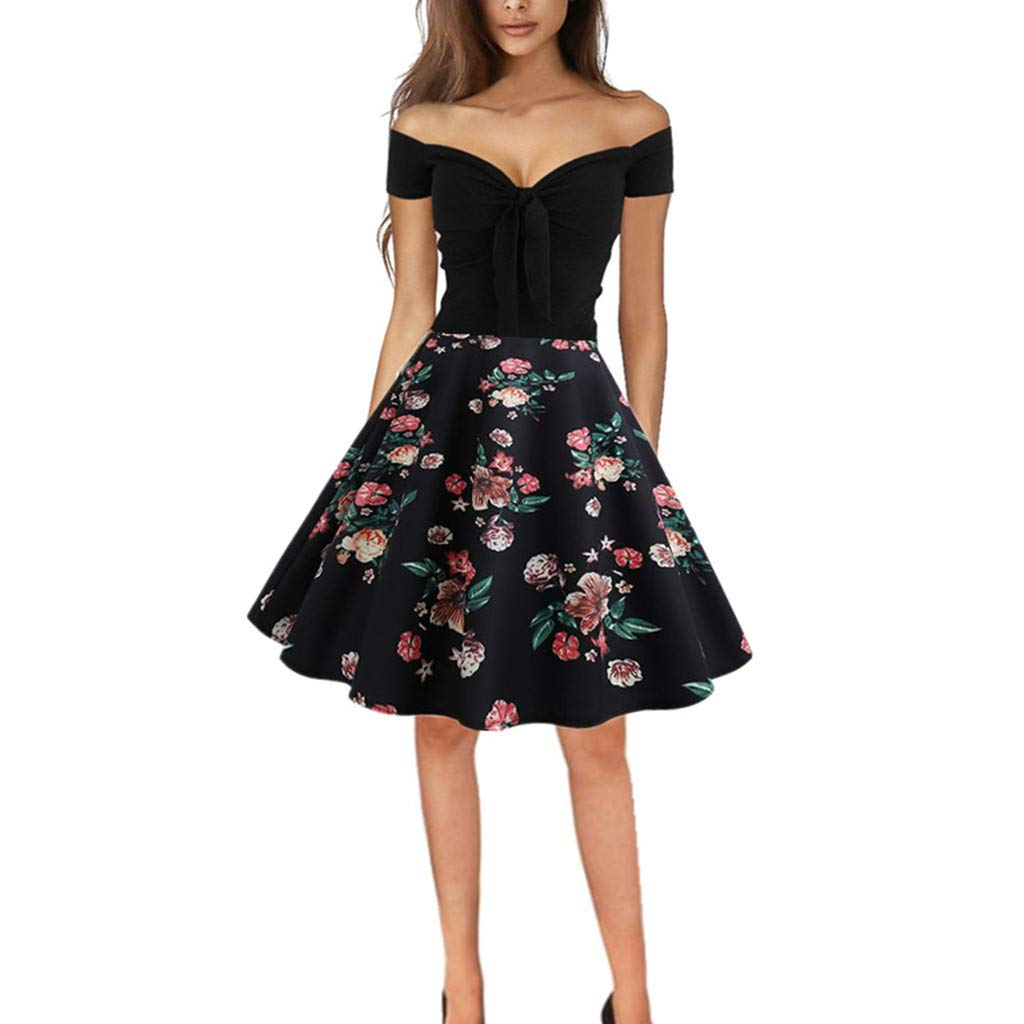 Beikoard Damen Vintage 50er Jahre Kleid Frauen Retro ...