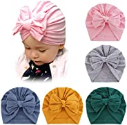 Guozyun Baby Girl Hat with Bow Newborn Infant Toddlers Beanies Caps Hats Baby Kids Knotted Turbans Headband Ca