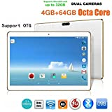 Nacome 10.1 Inch 4G + 64G Android 6.0 Dual Sim Dual Camera Phone Wifi Bluetooth 4.0 Phablet Tablet (White)