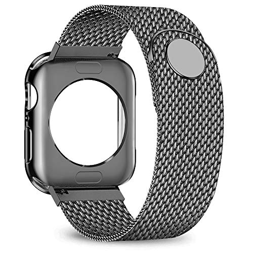 jwacct Compatible for Apple Watch Band with Screen Protector 38mm 40mm 42mm 44mm, Soft TPU Frame Case Cover Bumper Compatible for iwatch Series 1/2/3/4 Space Gray
