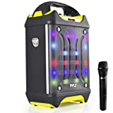 Pyle Portable Bluetooth Karaoke Speaker System - Audio Configuration & Recording, USB/SD Card Support, Built-in Rechargeable Battery, Flashing DJ Lights w/Wireless Streaming & Mic (PWMA275BT)