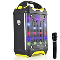 Pyle Wireless PA System Karaoke Speaker Flashing DJ Lights, Built-in Rechargeable Battery,Bluetooth Wireless Microphone, Recording Ability, MP3/USB/SD/FM  (PWMA275BT)