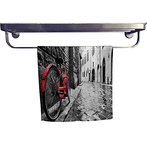(Dry Fast Towel,Classic Bike on Cobblestone Street in Italian Town Leisure Charm Artistic Photo Red,Gym Swim Hotel Use W 14