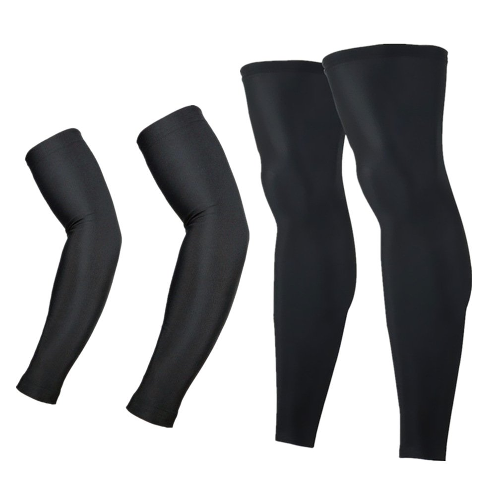 Arsuxeo Cycling Armwarmers + Leg Warmers Men Women Sports Running Clothing (L, White) Run Kang Sports XTN01+TT01