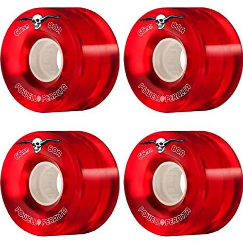 宿題療法抵当powell-peralta Clear Cruiser Redスケートボードホイール – 66 mm 80 a (Set of 4 )