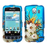 Blue White Hawaiian Flower Green Vine Design Rubberized Snap on Hard Shell Cover Protector Faceplate Cell Phone Case for Sprint LG Optimus S LS670, Virgin Mobile Optimus V, USCellular Optimus U + LCD Screen Guard Film, Best Gadgets