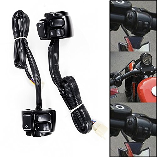 1'' Handlebar Black Housing Horn Turn Signal Headlight Electrical Switch For 1996-2012 Harley Softail Dyna Sportster V-Rod by Anzio