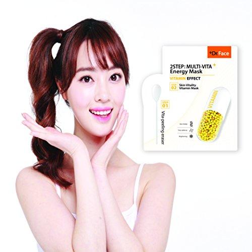 Dr.Face 2 Step Multi-Vita Energy Facial Mask, Brightening Functioning, 10 pcs