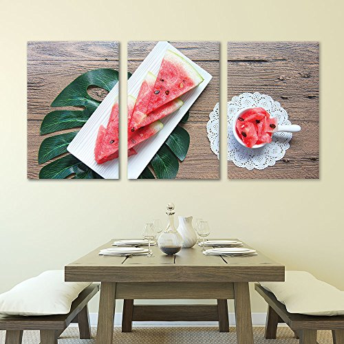 3 Panel Watermelon Slices on Rustic Wood Table Gallery x 3 Panels