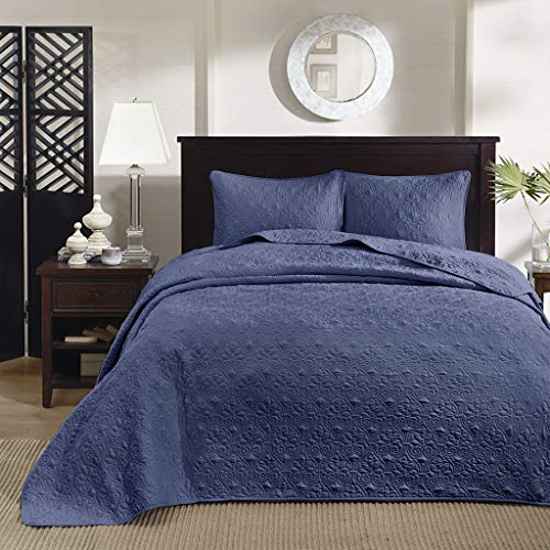 Madison Park Quebec Queen Size Quilt Bedding Set - Navy , Damask - 3 Piece Bedding Quilt Coverlets - Ultra Soft Microfiber Bed Quilts Quilted -