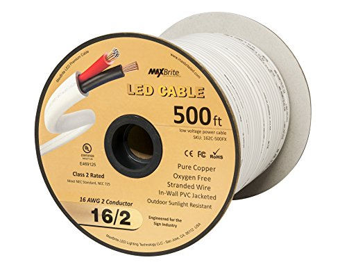 (500 FT 16AWG Low Voltage LED Cable 2 Conductor Jacketed In-Wall Speaker Wire UL/cUL Class 2)