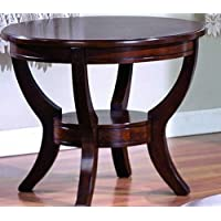 Coty Round Glass End Table In Brown Finish By Crown Mark Furniture