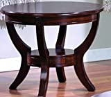 Coty Round Glass End Table In Brown Finish By Crown Mark Furniture For Sale
