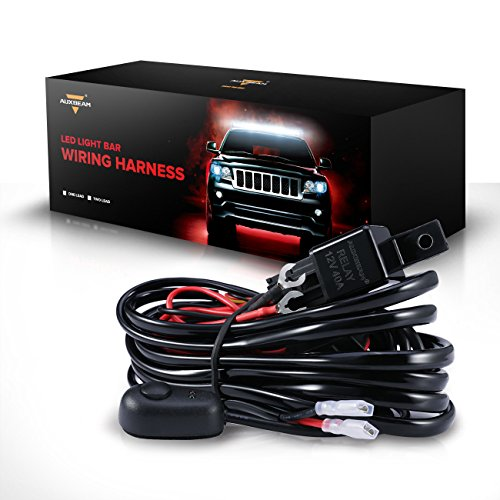 Auxbeam LED Light Bar Wiring Harness Kit with Fuse Relay ON/Off Switch for LED Off-Road Driving Light Fog Light Work Light (1 Lead) ()