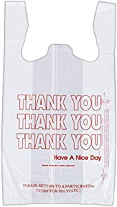 Netko Thank You Shopping Bags - Plastic Grocery Reusable White Bags | T-shirt Bags | Heavy Duty Gift Carrier Market Bags in Bulk 55 Pack
