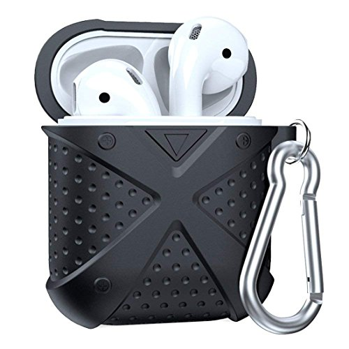 Airpods Case, MeanLove X Silicone Protective Shockproof Airpods Case Cover Shell Skin Storage with Carabiner, Case for Apple Airpods Travel (Black)