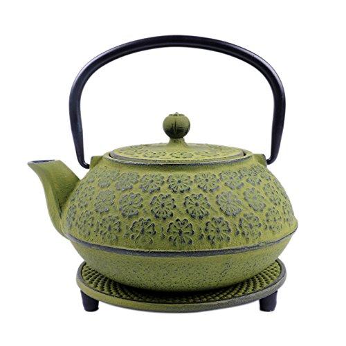 SKÖN Cast Iron Teapot & Matching Trivet (34-Ounce, Green Floral)