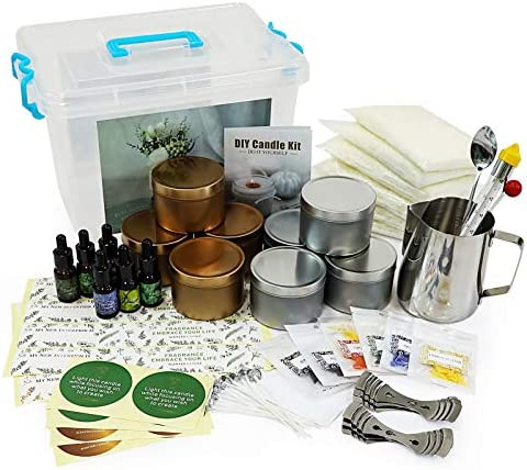 Candle Making Kit, 81 Pieces Candle Making Kit for Adults, Including Spice, Candle Cores, Furnaces, Tins, Dyes, Sticks, Thermometers, Gift for Adults.