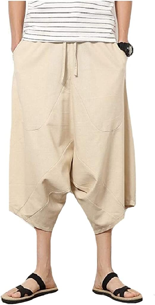 CuteRose Mens Elastic Drawstring Ethnic Style Casual Pant Wide Leg Pants