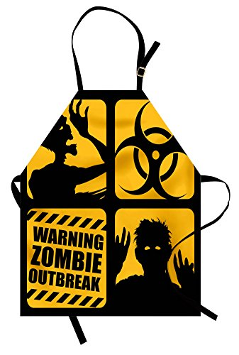 Printawe Zombie Apron by, Toxic Sign with Outbreak Warning and Monster Silhouettes Bicolor Illustration, Unisex Kitchen Bib Apron with Adjustable Neck for Cooking Baking Gardening, Yellow and -
